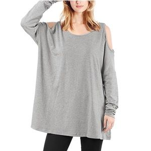 Grey Cold Shoulder Lightweight Oversized Tunic Top